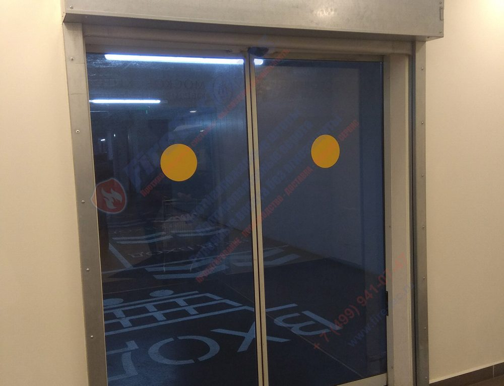 Противопожарная автоматическая преграда (штора, экран, занавес) системы «Fireshield-EI60» на паркинге